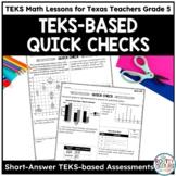 Short-Answer Response Assessments- TEKS Math Curriculum