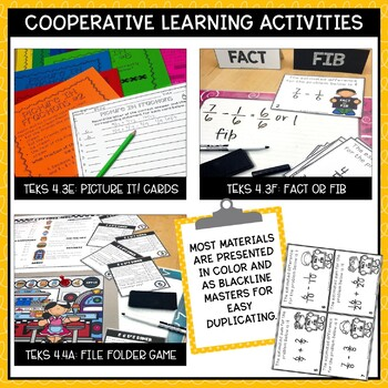 Operations with Fractions & Decimals- TEKS Math Activities & Printables