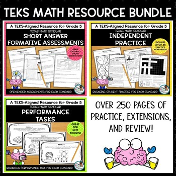 Assessments, Exit Tickets, Worksheets, Spiral Review for TEKS Math Bundle