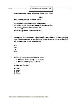 Texas STAAR Mini-Assessment (4th Grade)