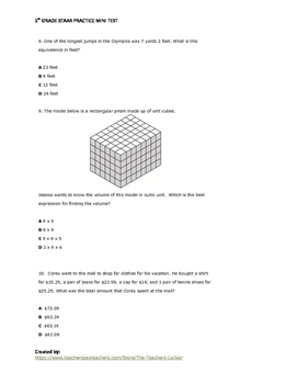 Texas STAAR Mini-Test (5th Grade)