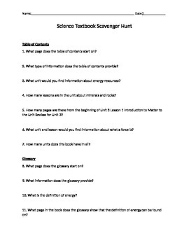 Texas Science Fusion Textbook Scavenger Hunt
