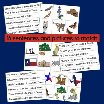 Texas Sentence Picture Match Reading Center