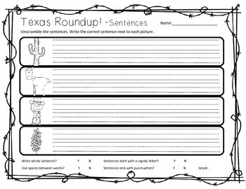 Texas Sentence Roundup! - Unscramble & Write Sentences
