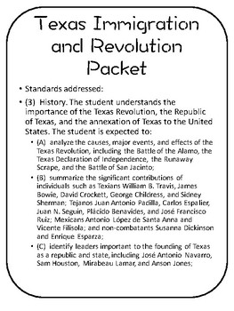 Texas Settlement Activity Packet