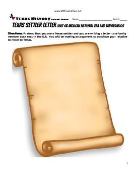 Texas Settler Letter Unit 05 Mexican National Era and Empresarios