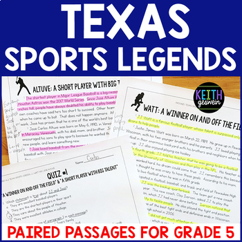 Texas Sports Legends Paired Passages Grade 5