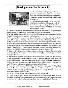 Texas Staar Reading - Development of the Automobile