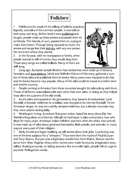 Texas Staar Reading - Folklore