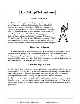 Texas Staar Reading - Lou Gehrig-The Iron Horse