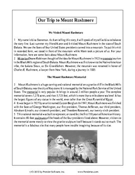 Texas Staar Reading - Our Trip to Mount Rushmore
