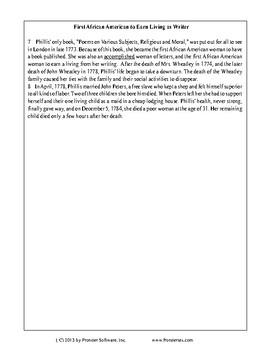 Texas Staar Reading - Phillis Wheatley