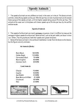 Texas Staar Reading - Speedy Animals