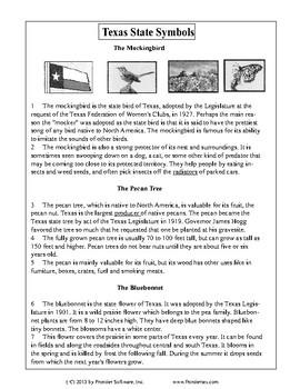 Texas Staar Reading - Texas State Symbols