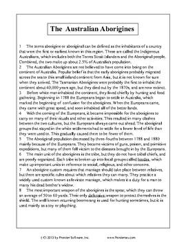 Texas Staar Reading - The Australian Aborigines