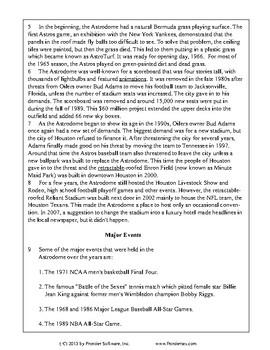 Texas Staar Reading - The Houston Astrodome