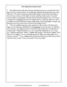 Texas Staar Reading - The Lonely Lamp Post