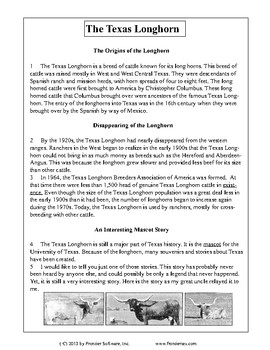 Texas Staar Reading - The Texas Longhorn