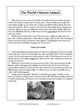 Texas Staar Reading - The World's Slowest Animal