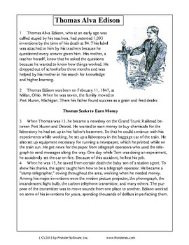 Texas Staar Reading - Thomas Alva Edison