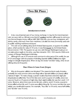 Texas Staar Reading - Two Bit Piece