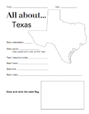 Texas State Facts Worksheet: Elementary Version