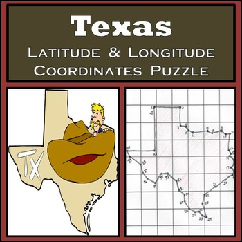 Texas State Latitude and Longitude Coordinates Puzzle - 42 Points to Plot