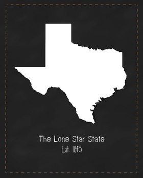 Texas State Map Class Decor, Government, Geography, Black and White Design