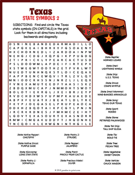 Texas State Symbols Word Search Puzzles