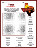 TEXAS State Symbols Word Search Puzzle Worksheet Activity