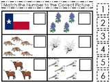 Texas State Symbols themed Match the Number Preschool Math Counting Game.