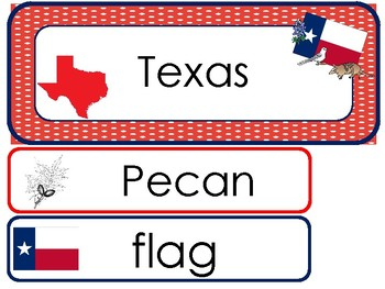 Texas State Word Wall Bulletin Board Set. Geography Curriculum.