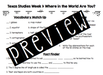 Texas Studies Weekly Learning Checks (Weeks 1-8)