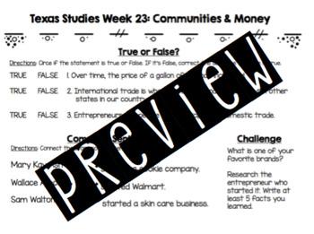 Texas Studies Weekly Learning Checks (Weeks 23-28)