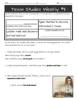 Texas Studies Weekly Newspaper 11 Worksheet