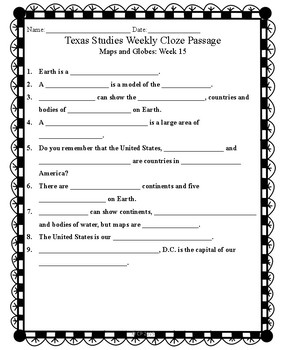 Texas Studies Weekly Cloze Passages Second Grade Weeks 15-20