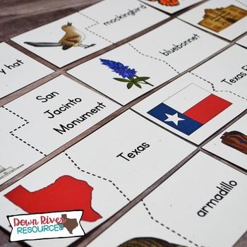 Texas Symbols Puzzles | Matching Puzzles for Texas Patriotic & Selected Symbols