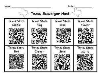 Texas Symbols QR Code Scavenger Hunt