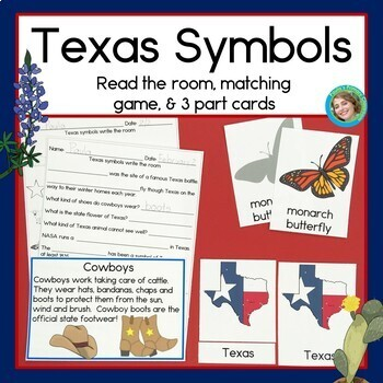 Texas Symbols Read and Write the Room, Matching Games, and Reading Comprehension