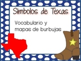Texas Symbols Vocabulary and Bubble Maps (SPANISH)