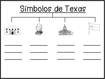 Texas Symbols Vocabulary and Tree Maps (SPANISH)