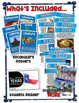 Texas Symbols and Cities NO PREP Integrated ELAR and Social Studies Unit