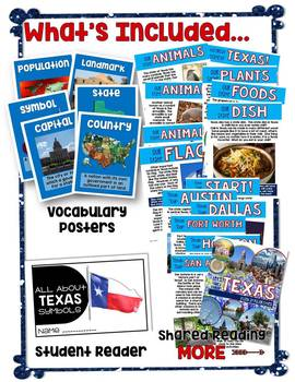 Texas Symbols and Cities NO PREP Integrated ELAR and Social Studies Unit