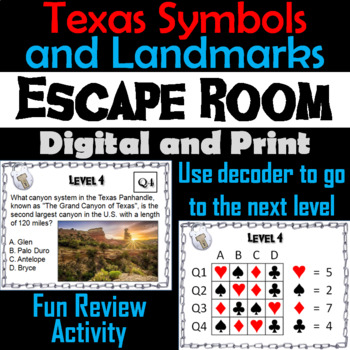 Texas Symbols and Landmarks Escape Room (Alamo, Big Tex, National Parks, etc.)
