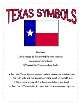 Texas Symbols review sheet, data, and test