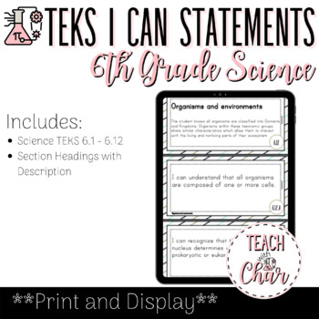 Texas TEKS 6th Grade Science I Can Statements