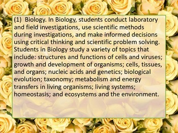 Texas TEKS Biology Posters Yellow Roses