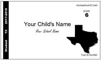 Texas (TX) Homeschool ID Cards for Teachers and Students