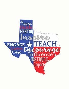 Texas Teacher Poster 18x24 and 8.5x11