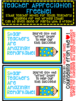 Texas Teachers STAAR Note Freebie!